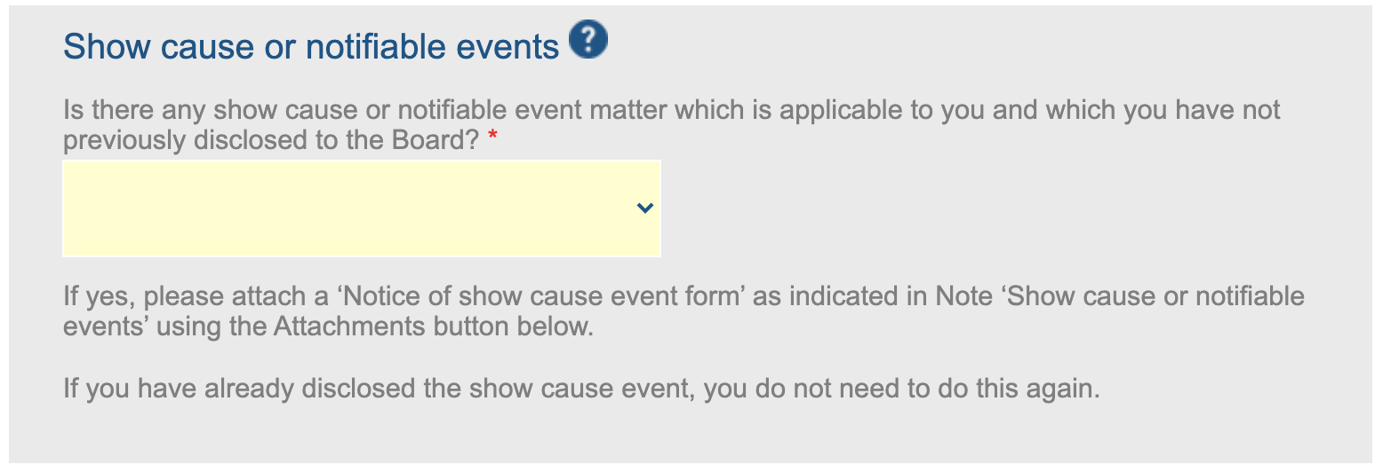 Show cause or notifiable events
