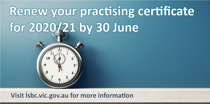 Renew your practising certificate before June 30